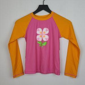 Hanna Andersson Orange Pink Flower Rashguard 140